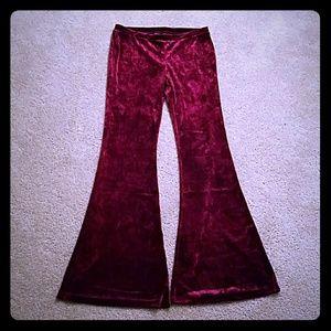 Burgundy goth velvet flare bell bottom pants rave